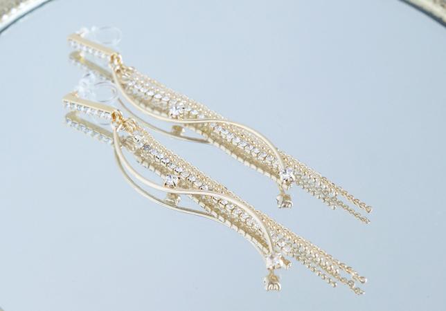 画像3: Elegant CZ Dangling Non Pierced Earrings [ノンホールピアス]