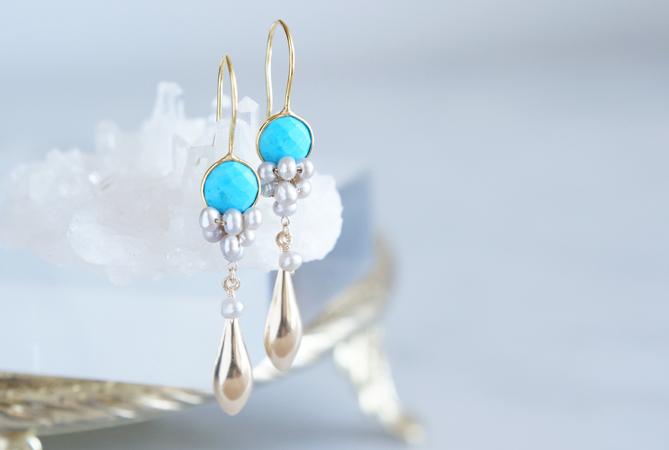 画像1: Gemstone Blue Turquoise&Genuine Silver Pearl Earrings