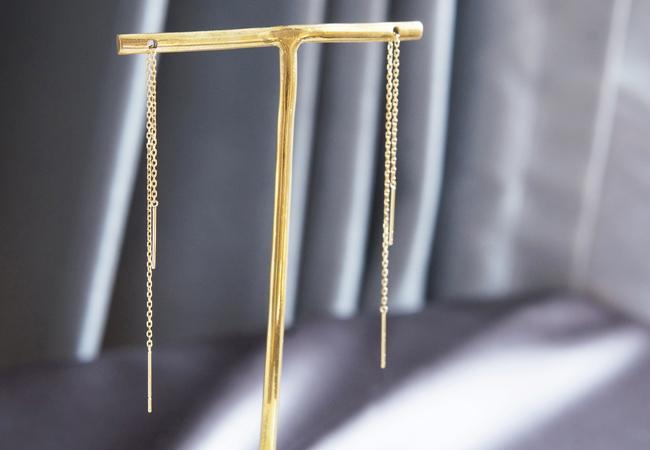 画像1: 【K18YG】Double Bar Ear Thread Earrings