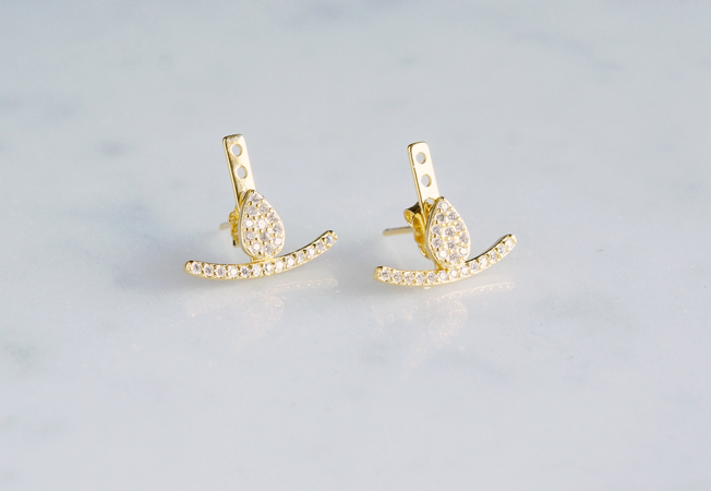 画像1: 【Sterling silver 925】2way Ear Jacket Teardrop Earrings