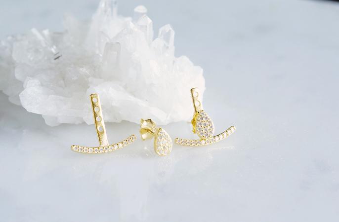 画像2: 【Sterling silver 925】2way Ear Jacket Teardrop Earrings