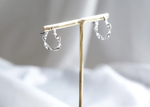画像1: 【Sterling silver 925】Twisted  Hoop Earrings