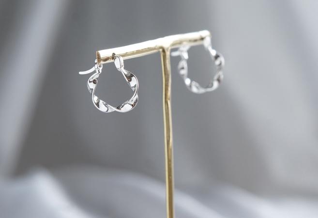 画像3: 【Sterling silver 925】Twisted  Hoop Earrings