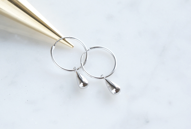画像3: 【Sterling silver 925】 Teardrop Hoop Dangling Earrings