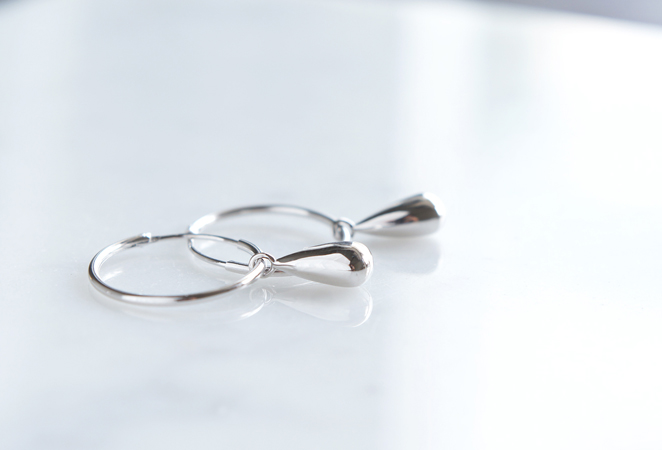 画像2: 【Sterling silver 925】 Teardrop Hoop Dangling Earrings
