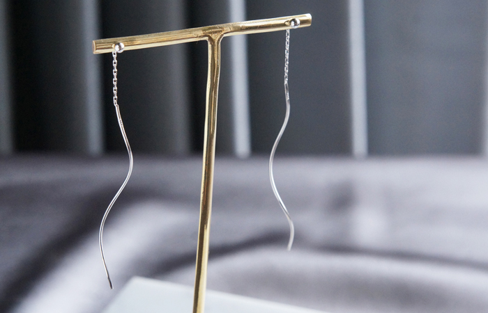 画像4: 【Sterling silver 925】 Dangling Ear Thread Earrings