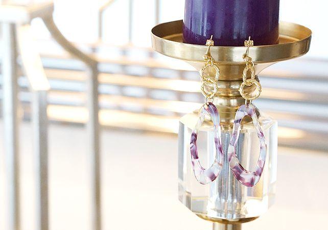 画像1: 【Marble】14KGF Gold Design Double Linked Rings Earrings