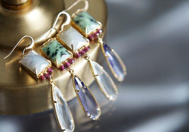 画像1: 【14KGF】Square Gemstone,Rhodorite Garnet,Teardrop Dangling Earrings