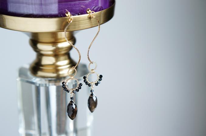 画像1: 【14KGF】Smoky Quartz Cury Elegant Dangling Earrings