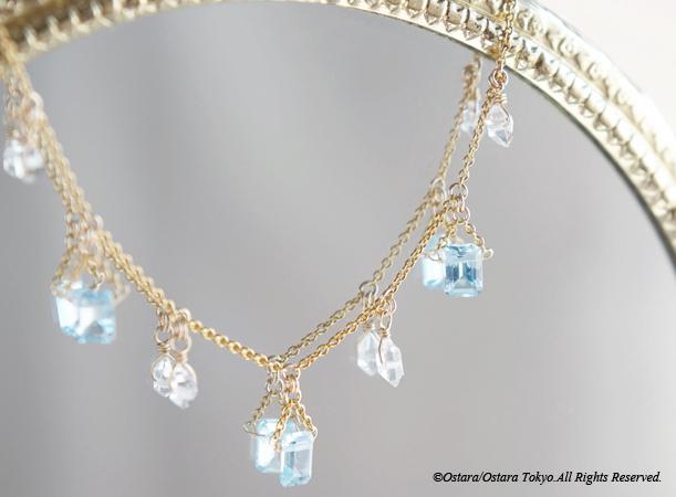 画像1: 【14KGF Choker Necklace】-Gemstone,Dream Crystal, NY Herkimerdiamond x Blue Topaz-