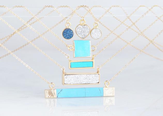 画像5: 【14KGF】Necklace,Gemstone,Square Blue Turquoise