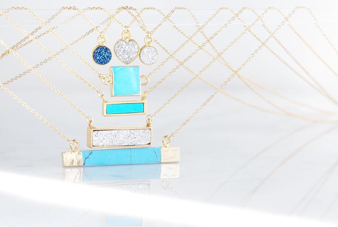 画像4: 【14KGF】Necklace,Gemstone,Square Blue Turquoise