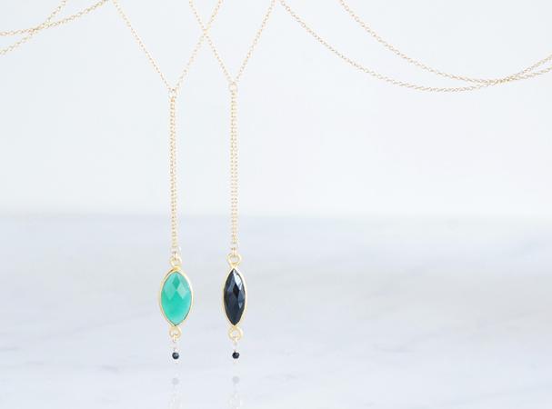 画像1: 【Gold Vermeil/Gemstone】14KGF Lariat Y Choker Necklace-Marquise Black Onyx/Marquise Green Onyx-