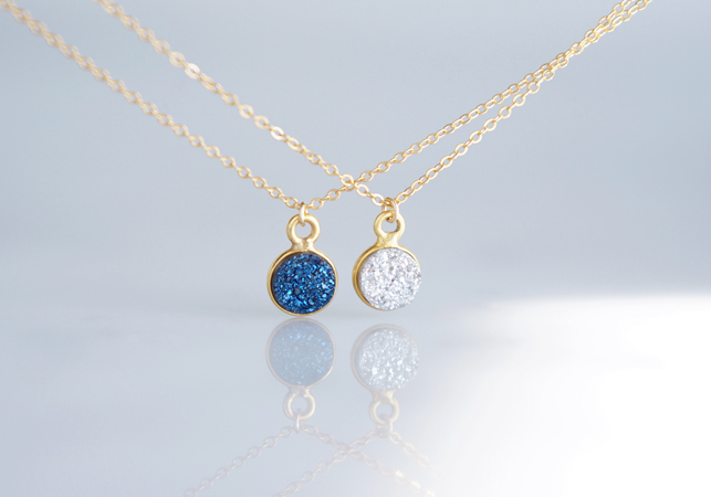 画像1: 【14KGF】Necklace,Gemstone,Tiny Druzy[Silver/Royal Blue]
