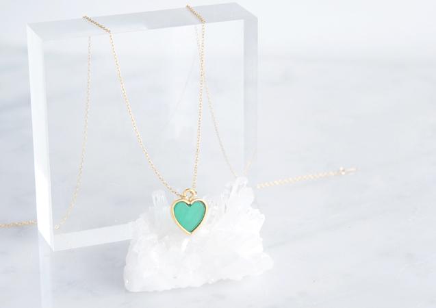 画像1: 【14KGF】Necklace,Gemstone Heart Green Onyx