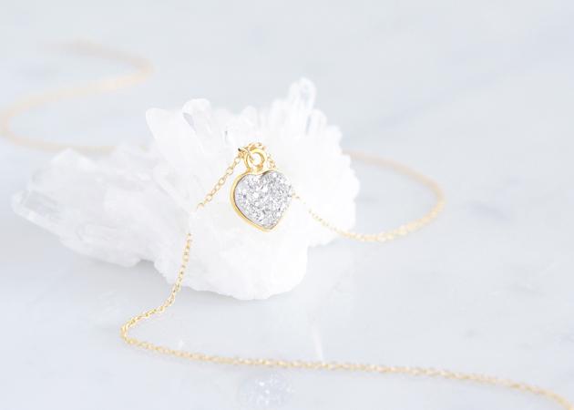 画像1: 【14KGF】Necklace,Gemstone  Silver Heart Druzy