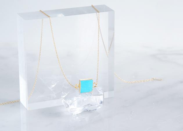 画像1: 【14KGF】Necklace,Gemstone,Square Blue Turquoise