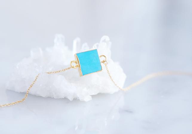 画像2: 【14KGF】Necklace,Gemstone,Square Blue Turquoise