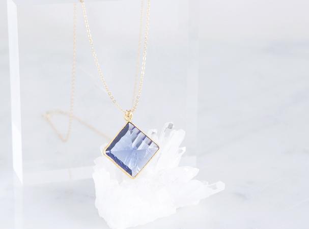 画像1: 【14KGF】 Necklace, Diamond-Shaped Iolite Quartz