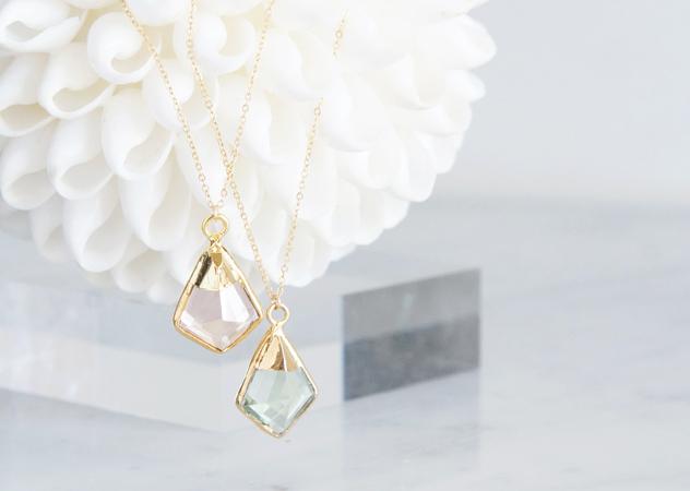 画像1: 【14KGF】 Necklace,Green Amethyst Quartz/Morganite Quartz