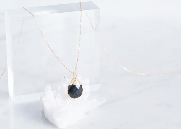 画像1: 【14KGF】 Necklace,Gemstone,Pear-Shaped Black Onyx