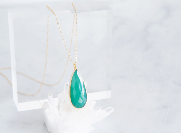 画像1: 【14KGF】 Necklace,Gemstone Teardrop Green Onyx