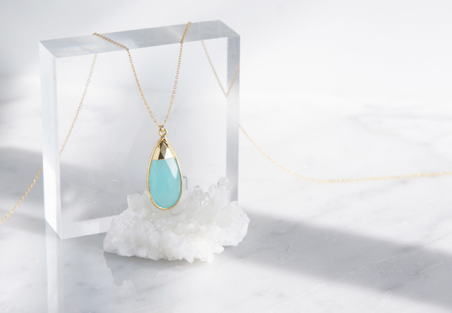 画像1: 【14KGF】Long Necklace,Gemstone,Pear-Shaped Aqua Chalcedony