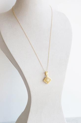 画像3: 【Istanbul】 14KGFLong Necklace, Matt Gold Filigree -002-