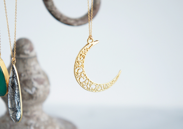 画像1: 【Istanbul】 14KGFLong Necklace, Matt Gold Filigree -003-
