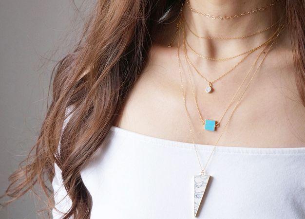 画像3: 【14KGF】Necklace,Gemstone,Square Blue Turquoise