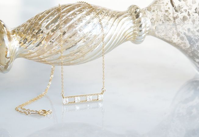 画像3: 【14KGF】Necklace, Square CZ Double Long Bar