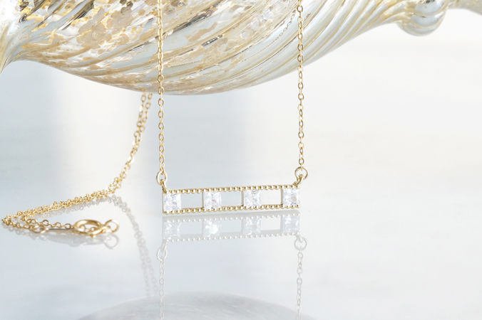 画像1: 【14KGF】Necklace, Square CZ Double Long Bar
