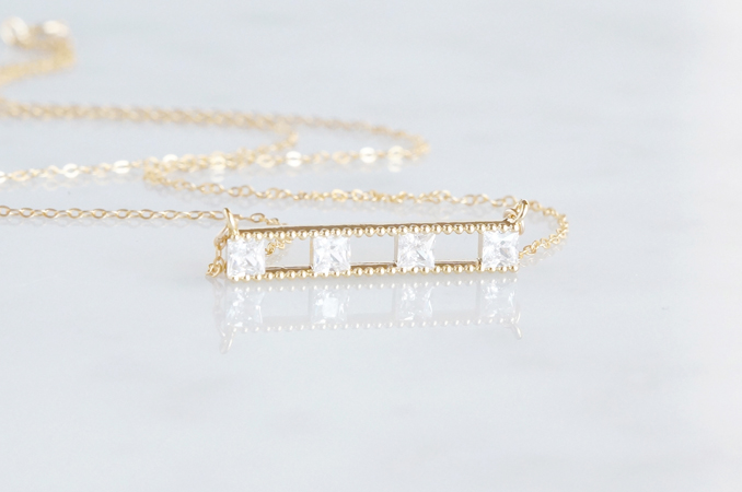 画像2: 【14KGF】Necklace, Square CZ Double Long Bar