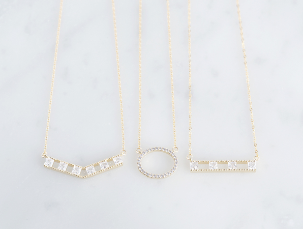 画像5: 【14KGF】Necklace, Square CZ Double Long Bar
