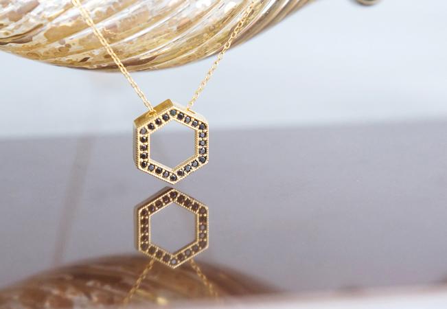 画像1: 【14KGF】Necklace, CZ Hexagon-Black-