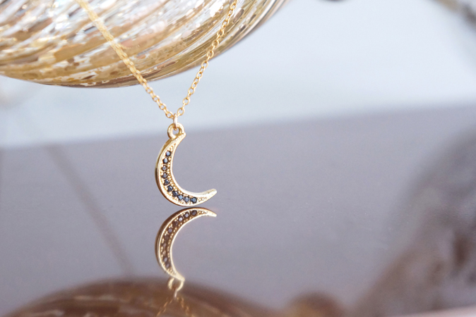 画像1: 【14KGF】Necklace, Black CZ Crescent Moon