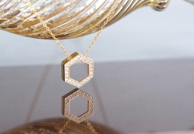 画像1: 【14KGF】Necklace, CZ Hexagon-Crystal-