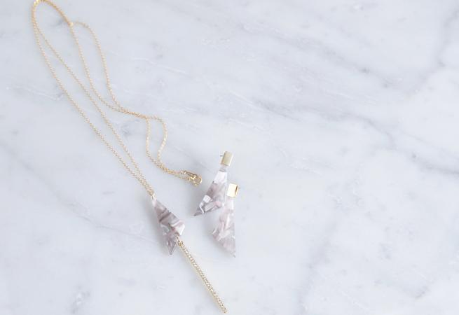画像1: 【Marble】14KGF Long Necklace,Glass Long Bar-Grey & Light Peach Mix-