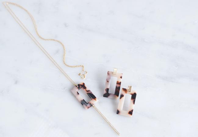 画像1: 【Marble】14KGF Long Necklace,Glass Long Bar-Brown Mix-