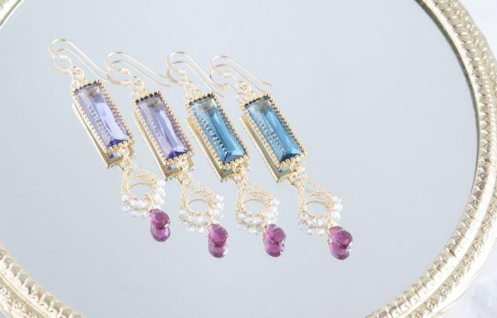 画像1: 【14KGF】Rhodorite Garnet,Rectangle Glass Earrings