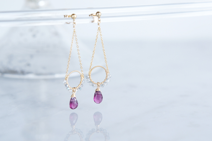 画像1: 【14KGF】Rhodorite Garnet Earrings-B-