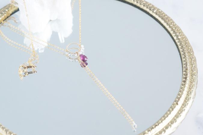 画像1: 【14KGF】Rhodorite Garnet Y-Necklace