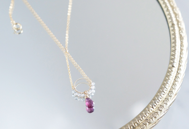画像1: 【14KGF】Rhodorite Garnet Necklace