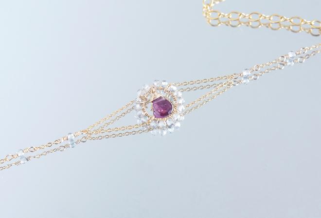 画像1: 【14KGF】Rhodorite Garnet Bracelet