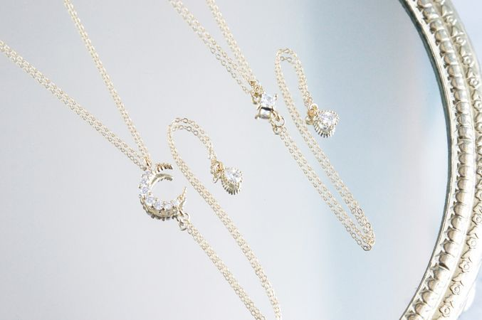 画像4: 【14KGF】Simple Diamond shaped CZ Y-Necklace