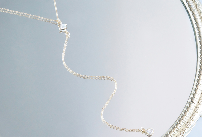 画像2: 【14KGF】Simple Diamond shaped CZ Y-Necklace