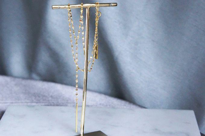 画像1: 【Sterling silver 925】Sparkly Gold  Chain, Long Bar Necklace