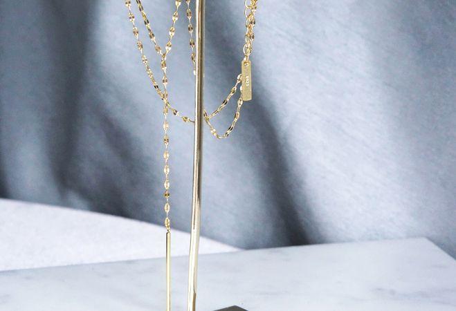 画像2: 【Sterling silver 925】Sparkly Gold  Chain, Long Bar Necklace