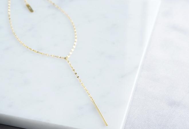 画像3: 【Sterling silver 925】Sparkly Gold  Chain, Long Bar Necklace