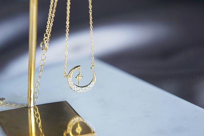 画像1: 【Sterling silver 925】Crescent Moon Dangling Tiny Cross Necklace